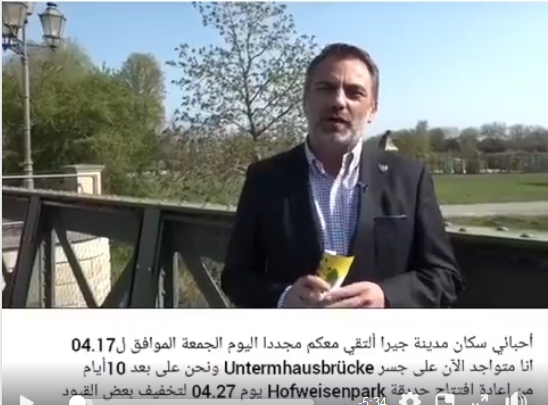 Link zum Video des Oberbürgermeistes vom 17.04.2020 mit arabischen Untertiteln.
