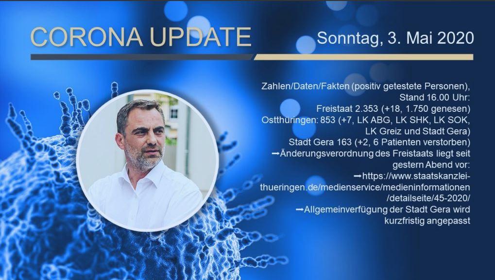 Bild mit Corona-Informationen vom 03.05.2020