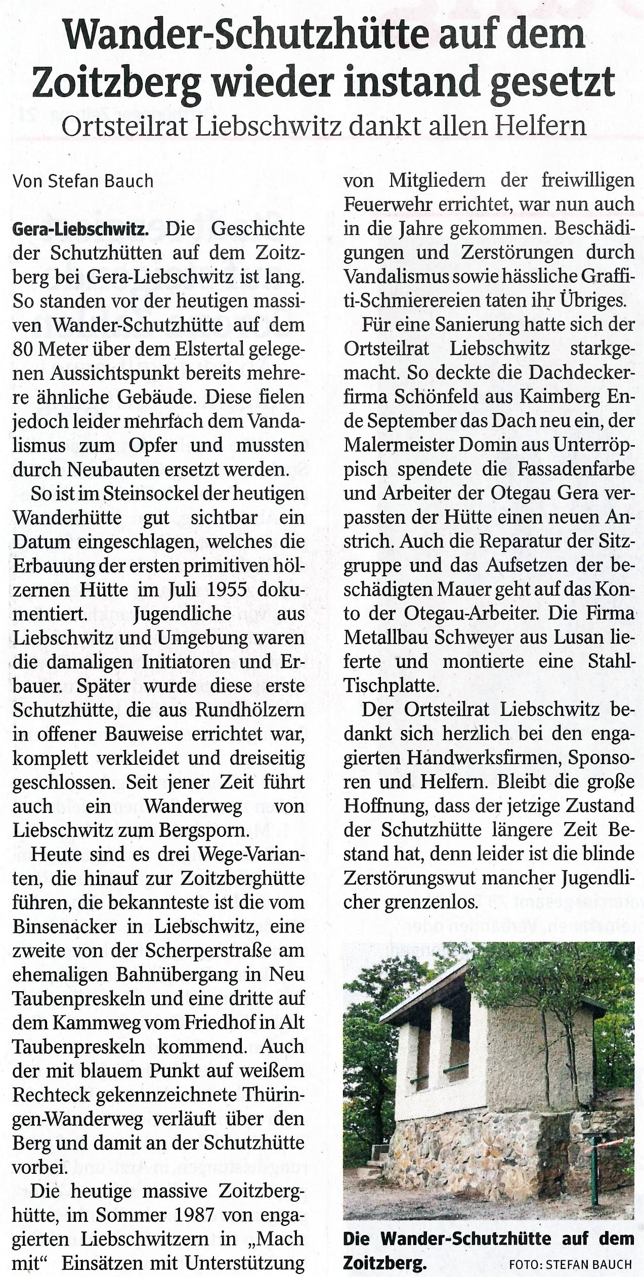 Bild vom Zeitungsartikel der Ostthüringer Zeitung vom 19.10.2020